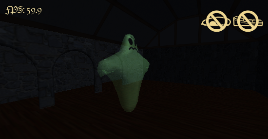 The ghost floating in a large room
