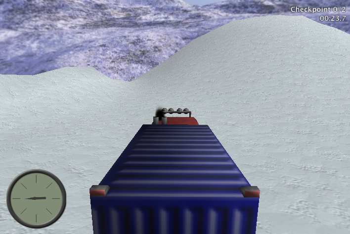 Screenshot showing the snowcat from behind, a compass pointing to the next checkpoint in the lower left corner, and a display with a counter for passed checkpoints and a clock in the upper right corner